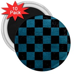 SQUARE1 BLACK MARBLE & TEAL LEATHER 3  Magnets (10 pack)
