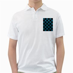 SQUARE1 BLACK MARBLE & TEAL LEATHER Golf Shirts