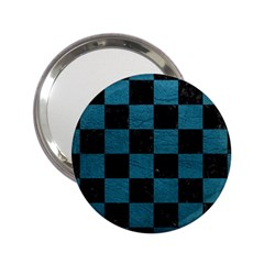 SQUARE1 BLACK MARBLE & TEAL LEATHER 2.25  Handbag Mirrors