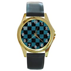 SQUARE1 BLACK MARBLE & TEAL LEATHER Round Gold Metal Watch