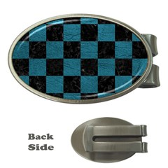 SQUARE1 BLACK MARBLE & TEAL LEATHER Money Clips (Oval)