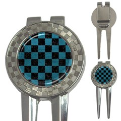 SQUARE1 BLACK MARBLE & TEAL LEATHER 3-in-1 Golf Divots