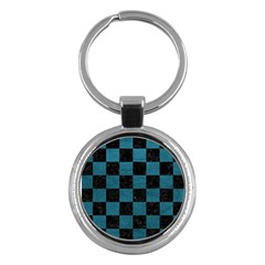 SQUARE1 BLACK MARBLE & TEAL LEATHER Key Chains (Round)