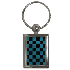 SQUARE1 BLACK MARBLE & TEAL LEATHER Key Chains (Rectangle)