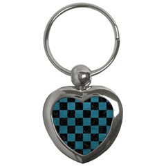 SQUARE1 BLACK MARBLE & TEAL LEATHER Key Chains (Heart)
