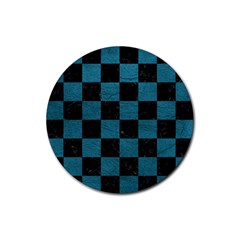 SQUARE1 BLACK MARBLE & TEAL LEATHER Rubber Round Coaster (4 pack)