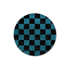 SQUARE1 BLACK MARBLE & TEAL LEATHER Magnet 3  (Round)