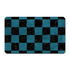 SQUARE1 BLACK MARBLE & TEAL LEATHER Magnet (Rectangular)
