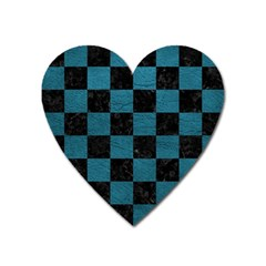 SQUARE1 BLACK MARBLE & TEAL LEATHER Heart Magnet