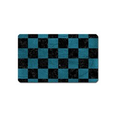 SQUARE1 BLACK MARBLE & TEAL LEATHER Magnet (Name Card)