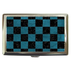 SQUARE1 BLACK MARBLE & TEAL LEATHER Cigarette Money Cases