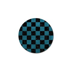 SQUARE1 BLACK MARBLE & TEAL LEATHER Golf Ball Marker