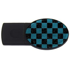 SQUARE1 BLACK MARBLE & TEAL LEATHER USB Flash Drive Oval (2 GB)