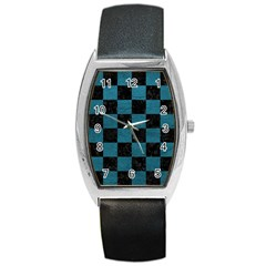 SQUARE1 BLACK MARBLE & TEAL LEATHER Barrel Style Metal Watch