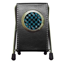 SQUARE1 BLACK MARBLE & TEAL LEATHER Pen Holder Desk Clocks