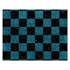 SQUARE1 BLACK MARBLE & TEAL LEATHER Rectangular Jigsaw Puzzl