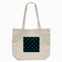 SQUARE1 BLACK MARBLE & TEAL LEATHER Tote Bag (Cream)