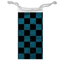 SQUARE1 BLACK MARBLE & TEAL LEATHER Jewelry Bag