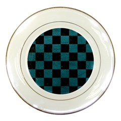 SQUARE1 BLACK MARBLE & TEAL LEATHER Porcelain Plates