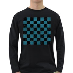 SQUARE1 BLACK MARBLE & TEAL LEATHER Long Sleeve Dark T-Shirts