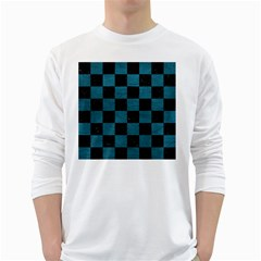 SQUARE1 BLACK MARBLE & TEAL LEATHER White Long Sleeve T-Shirts