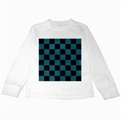 SQUARE1 BLACK MARBLE & TEAL LEATHER Kids Long Sleeve T-Shirts