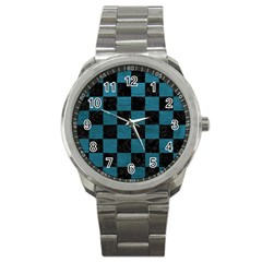 SQUARE1 BLACK MARBLE & TEAL LEATHER Sport Metal Watch