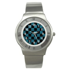 SQUARE1 BLACK MARBLE & TEAL LEATHER Stainless Steel Watch