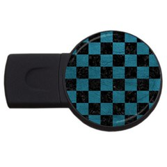 SQUARE1 BLACK MARBLE & TEAL LEATHER USB Flash Drive Round (4 GB)