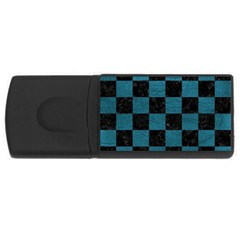 SQUARE1 BLACK MARBLE & TEAL LEATHER Rectangular USB Flash Drive