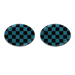 SQUARE1 BLACK MARBLE & TEAL LEATHER Cufflinks (Oval)