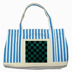 SQUARE1 BLACK MARBLE & TEAL LEATHER Striped Blue Tote Bag