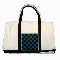 SQUARE1 BLACK MARBLE & TEAL LEATHER Two Tone Tote Bag