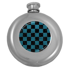 SQUARE1 BLACK MARBLE & TEAL LEATHER Round Hip Flask (5 oz)