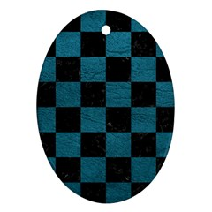 SQUARE1 BLACK MARBLE & TEAL LEATHER Oval Ornament (Two Sides)