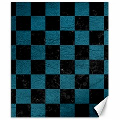 SQUARE1 BLACK MARBLE & TEAL LEATHER Canvas 8  x 10