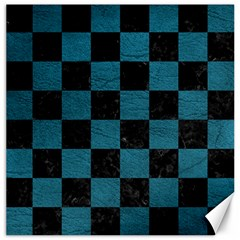 SQUARE1 BLACK MARBLE & TEAL LEATHER Canvas 20  x 20