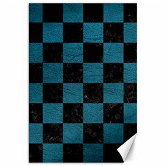 SQUARE1 BLACK MARBLE & TEAL LEATHER Canvas 20  x 30