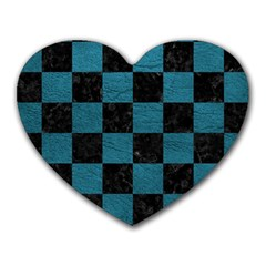 SQUARE1 BLACK MARBLE & TEAL LEATHER Heart Mousepads