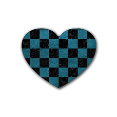 SQUARE1 BLACK MARBLE & TEAL LEATHER Rubber Coaster (Heart)