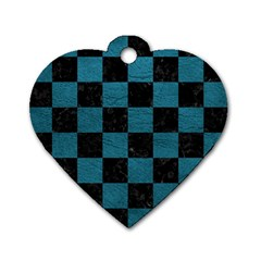 SQUARE1 BLACK MARBLE & TEAL LEATHER Dog Tag Heart (Two Sides)