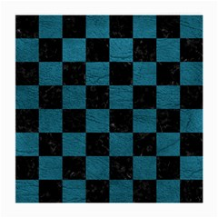 SQUARE1 BLACK MARBLE & TEAL LEATHER Medium Glasses Cloth (2-Side)
