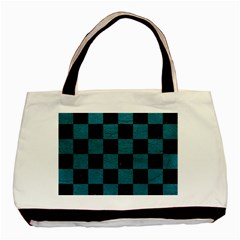 SQUARE1 BLACK MARBLE & TEAL LEATHER Basic Tote Bag (Two Sides)