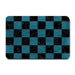 SQUARE1 BLACK MARBLE & TEAL LEATHER Small Doormat