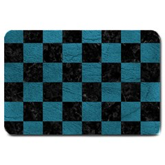 SQUARE1 BLACK MARBLE & TEAL LEATHER Large Doormat