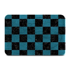 SQUARE1 BLACK MARBLE & TEAL LEATHER Plate Mats