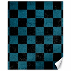 SQUARE1 BLACK MARBLE & TEAL LEATHER Canvas 11  x 14