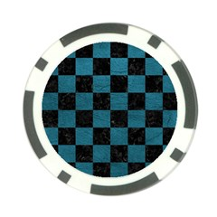 SQUARE1 BLACK MARBLE & TEAL LEATHER Poker Chip Card Guard