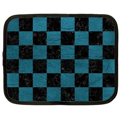 SQUARE1 BLACK MARBLE & TEAL LEATHER Netbook Case (Large)