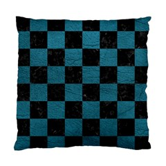 SQUARE1 BLACK MARBLE & TEAL LEATHER Standard Cushion Case (One Side)